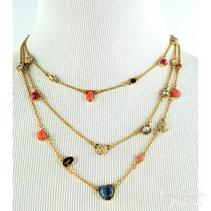 Kate Spade NY triple strand gem necklace NWO